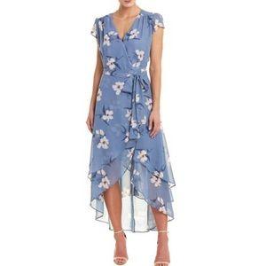 Floral Chiffon Wrap Midi Dress